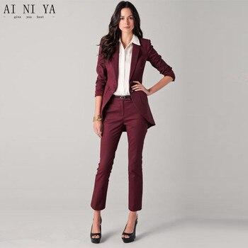 Jacket+Pants Burgundy Womens Business Suit Jacket Nobby Female Office Uniform Ladies Formal Trouser Suits Single Breasted