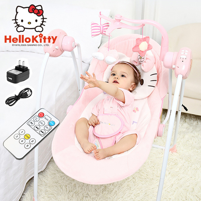 8adf662d321 Electric Cradle Bed Baby Comfort Swing Pink Baby Rocking Chair Coax Sleep  Crib Infant Bouncer Appease Newborns Crib with Music