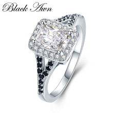 [BLACK AWN] 3.1g 925 Sterling Silver Jewelry Wedding Rings for Women Black&White Engagement Ring Rectangle Zircon Bague C409