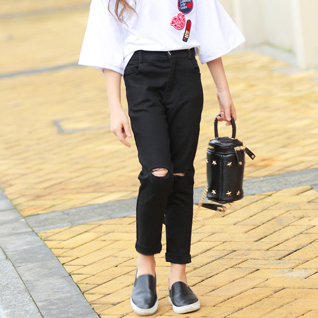 8e86bf518ab Girl Black Jeans Frayed Denim Long Pants Girls Trousers Spring Summer  Autumn Winter Students School Clothes Size 6 8 10 12 14 15