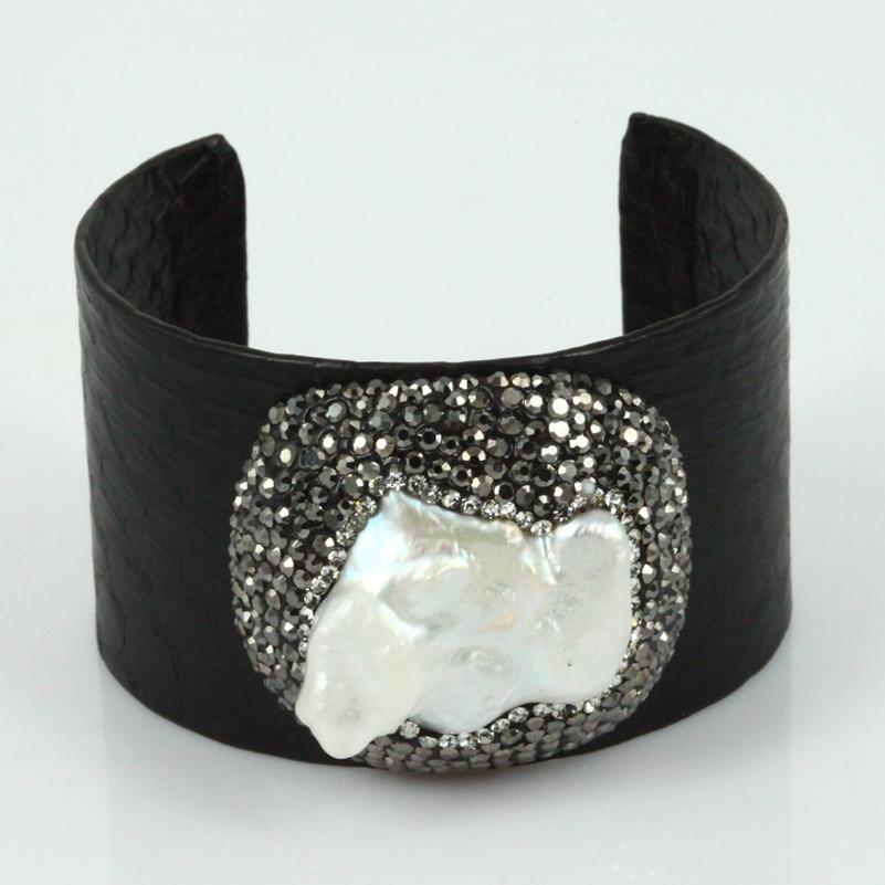 c6e7cfb0dfb67e € 11.23 23% de réduction|Strass pavé perles de peau de serpent en cuir  manchette bracelet Bracelets fait à la main en cuir de serpent noir ...
