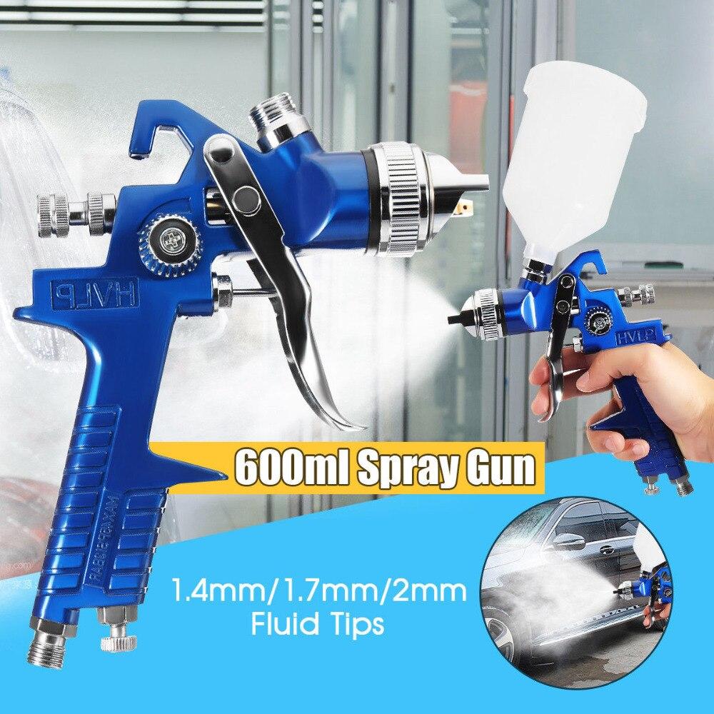 Nova alta qualidade 1.4/1.7/2.0mm bocal 600 ml hvlp pistola de pistola ar profissional pistola pistola de pintura para ferramenta de reparo do carro kit pintura