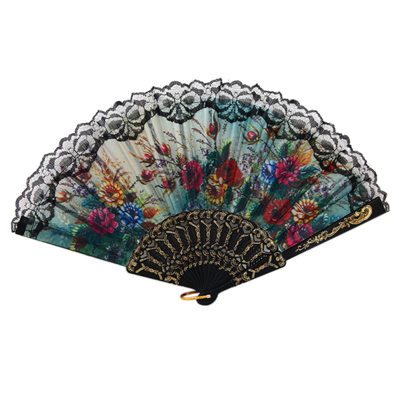 Spanish European Flower Folding Fan Hand Fan Bring You Cool Winds In The Summer Beautiful Looking Style Elegant Folding