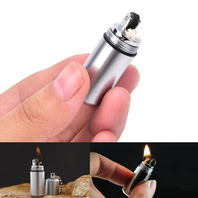 Fire Starter Capsule Flint Keychain Keyring Lighter Match NO Fuel Camping MAEK