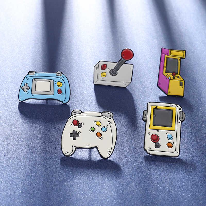 """Aku Cinta Video Game"" Pin Mesin Permainan Gamepad Rocker Kerah Pin Bros Vintage Kartun Enamel Pin Lencana Denim kemeja Perhiasan"