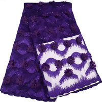 African Lace Fabric White High Quality Purple Flower Applique Heavy Beaded Bridal Lace Fabric For Nigerian