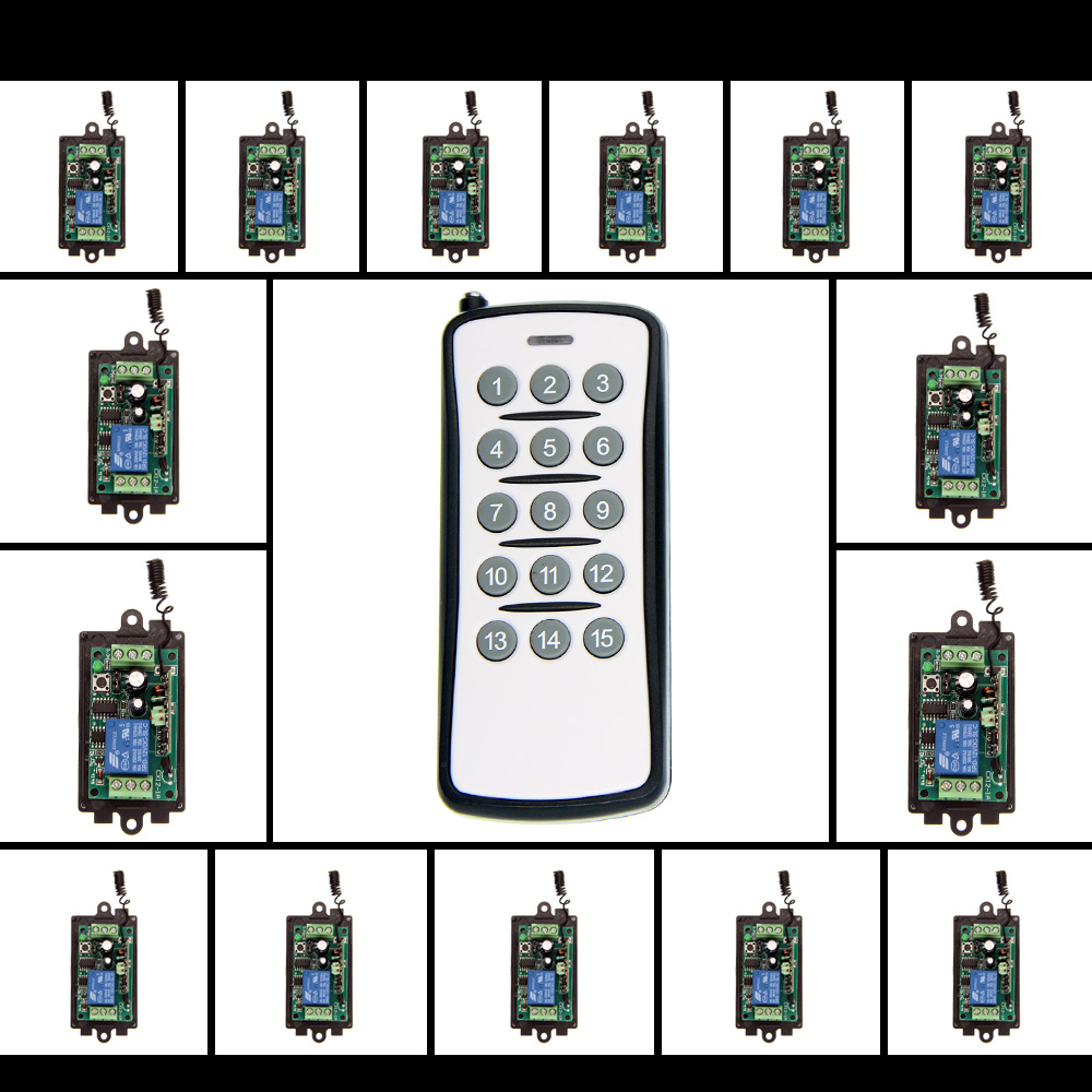ФОТО DC 9V 12V 24V 1 CH 1CH RF Wireless Remote Control Switch System,315/433 MHZ 15CH Transmitter And 15 X Receivers,Momentary/Toggle
