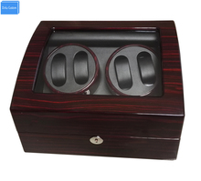 high end p0078 le leather 2 seats automatic watch winder for gift Luxury Automatic Watch Winder Box 4+6 Mechanical Watch Winder Wood Gloosy Leather With Lock EXW Drop Shipping OEM Factory Supply