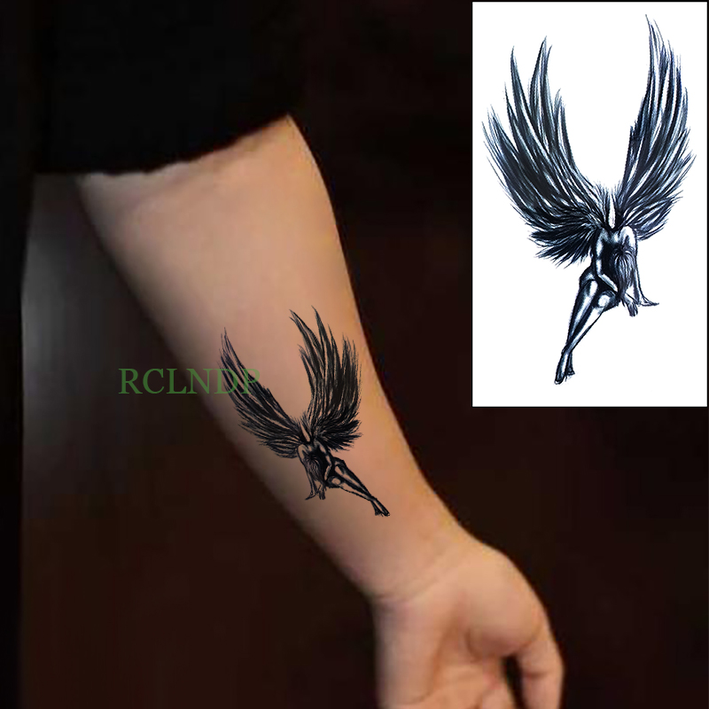 Waterproof Temporary Tattoo Stickers Angel Wing Fake Tatto Flash Tatoo Tatouage Body Art Hand Back Foot For Girl Women Men Lady