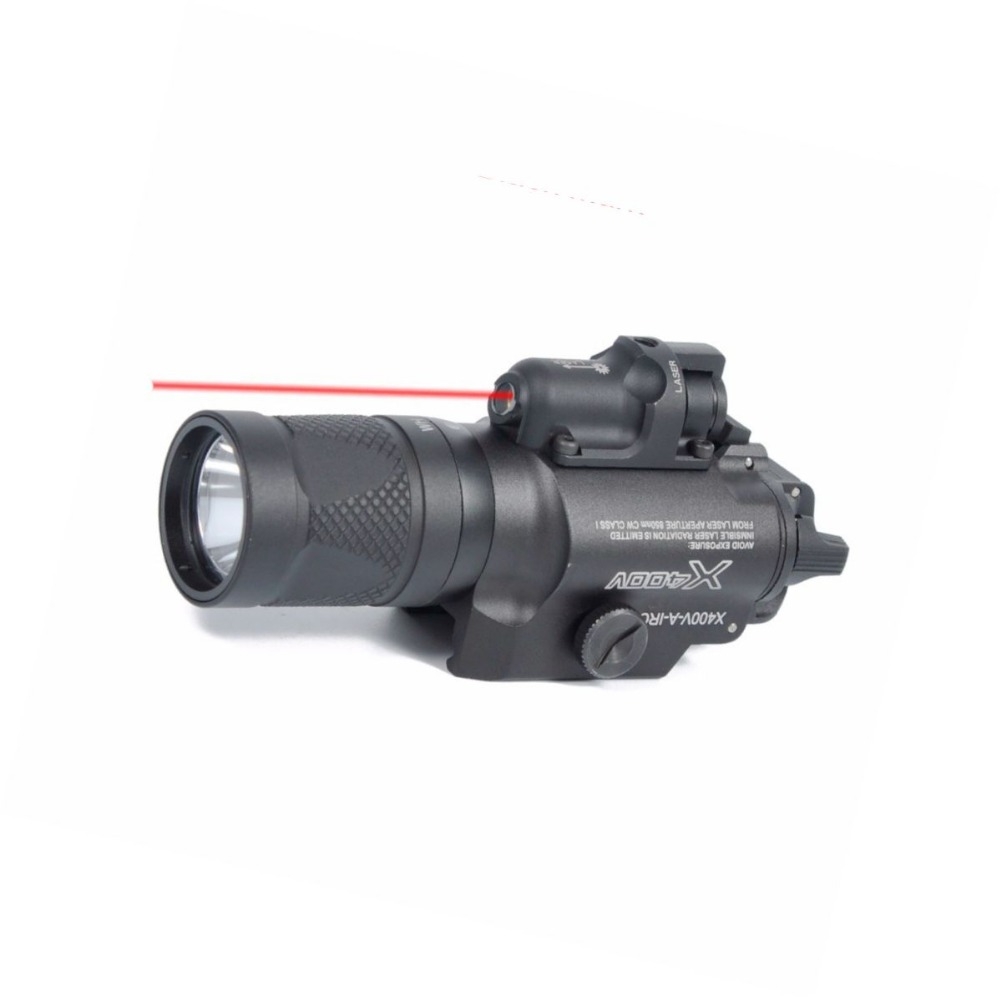 Tactical X400V tactical Flashlight White and IR Output With Red Laser Hunting Light greenbase dbal pl 400 lumen led flashlight tactical strobe red laser ir light ir laser for tactical rifles hunting weaponlight
