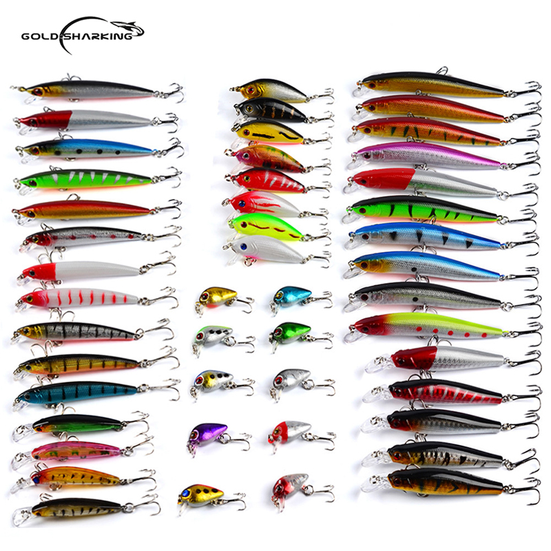 Goldsharking 48Pcs/lot Mixed Fishing Lure Bait Set Wobbler Crankbait Swimbait With Treble Hook Minnow Bait Carp Fish Spinners tsurinoya fishing lure minnow hard bait swimbait mini fish lures crankbait fishing tackle with 2 hook 42mm 3d eyes 10 colors set