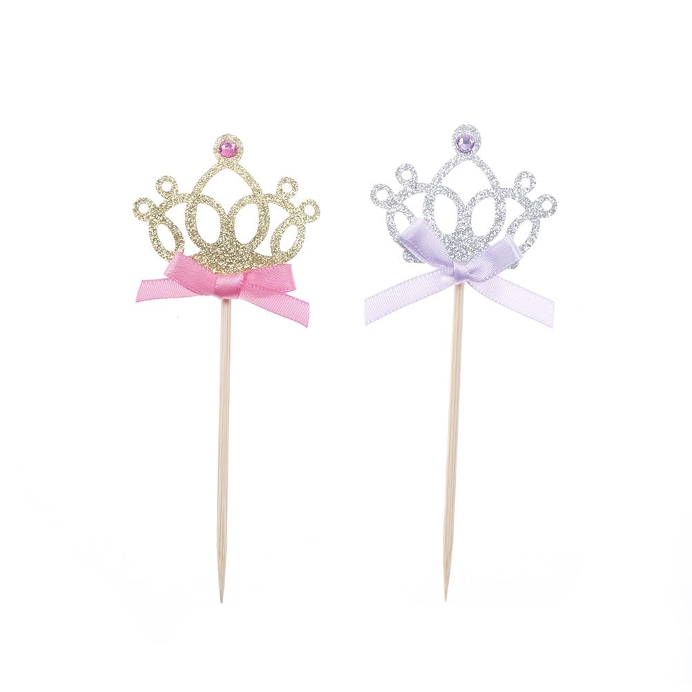 10 шт./лот, 1 день рождения, украшение, игрушки, шляпа, детская вечеринка, игрушка, много цветов, кекс, топперы, принцесса, корона, шляпа, игрушки для детей