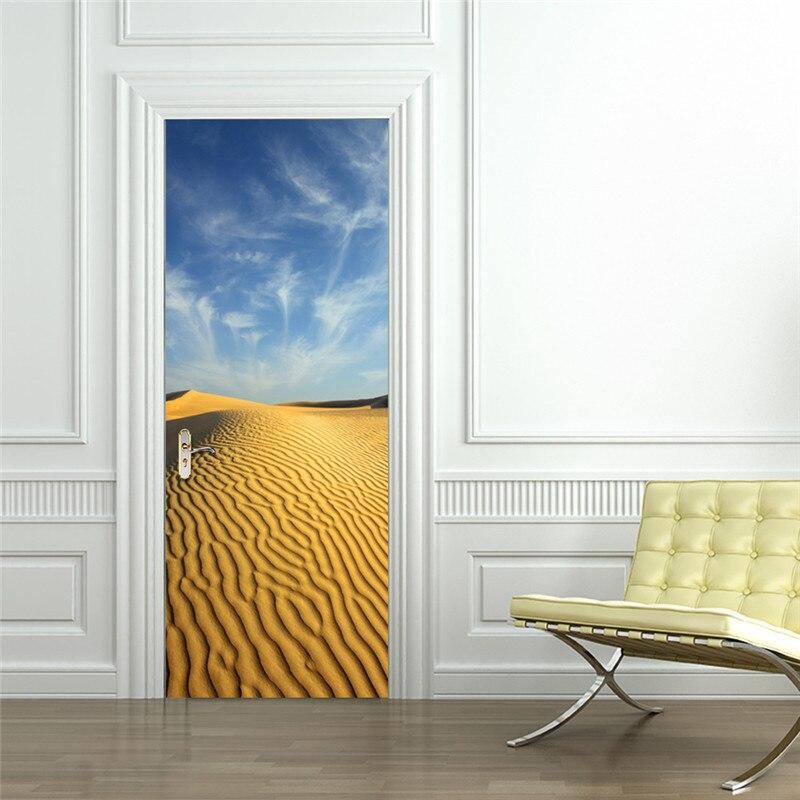 3D Desert Stickers Landscape Wallpaper Murals Nature Scenery Window View Wall Decals Vinyl Stickers Living Room Home Decor