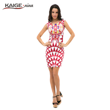 Sell Like Hot Cakes New Vestidos Summer Tropical Floral Print Sleeveless Sheath O-Neck Natural Knee-Length Dress Sexy Casual2249
