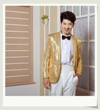 Błyszczące męskie odzież kostiumy sceniczne wieczór smokingu kurtka śpiewaków taniec kostium mężczyzna mistrz cekiny sukienki kostiumy sceniczne tanie tanio Marynarek REGULAR Chiński styl Pojedyncze piersi Octan COTTON NYLON Ścięty Pełna