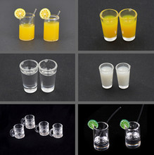 1:12 Resin Dollhouse Mini Lemon Water Cup Miniature Accessories Cups Furniture Toy Decoration Gifts