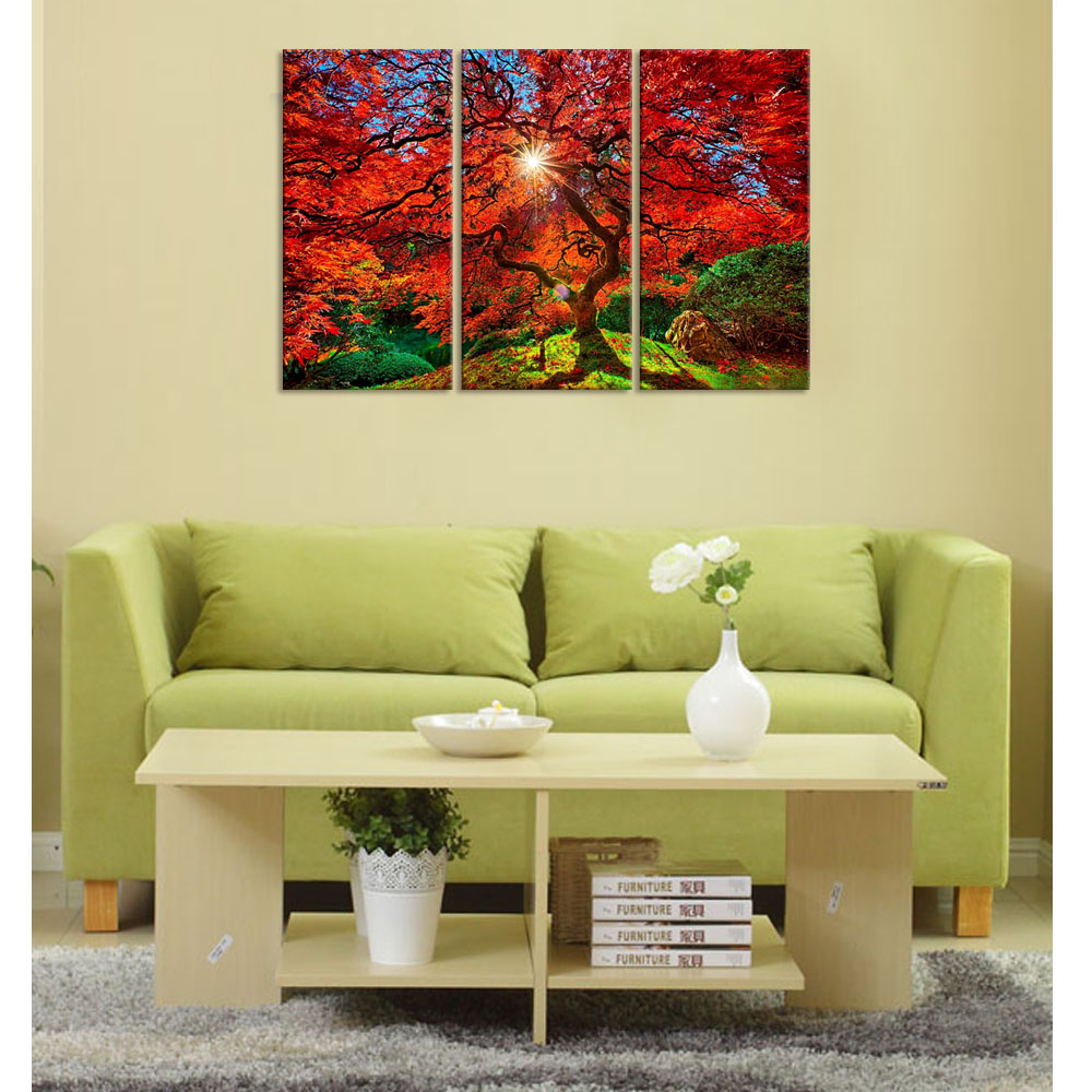 Modern Canvas Wall Art Red Maple Tree Canvas Wall Art Prints Picture ...