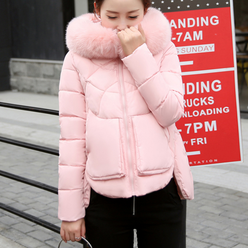 New Winter Jacket Women Short Jacket 2017 Fashion Girls Slim Large Faux Fur Hooded Warm font