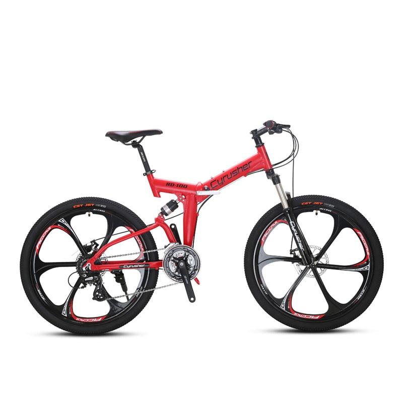 Cyrusher RD100 Folding Mountain Bike 6061 Aluminium Full Suspension Frame 24 Speeds Double Disc Brakes racing Bicycle cyrusher am xf200 black red mans mountain bike shiman0 alivio m4000 27 speeds xcr fork bb5 disc brakes