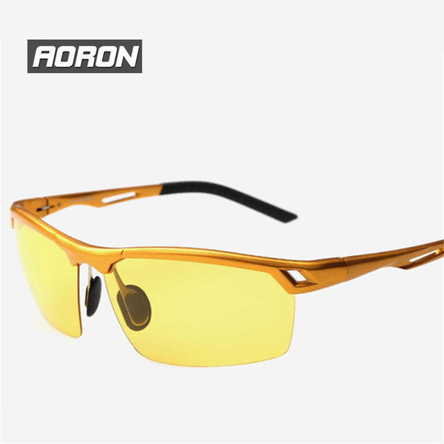 Day Night Vision Goggle Sunglasses Polarizer Men Driver Driving Anti-glare Glasses UV400 HD Fishing Sport Eyewear Semi-Rimless