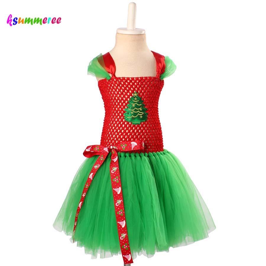 Ksummeree Christmas Tree Tutu Dress Girls Santa Claus Tutu Dress Red Green Dress for Christmas Holiday Photo Props TS142 sexy cosplay miss claus style dress hat for christmas green white