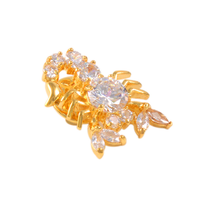 Gold Tone Zircon Crystal Scorpion Insect Brooch Pin Costume Jewelry