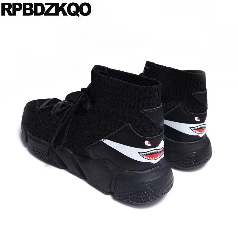 Élégant designer à lacets maille automne noir motif chaussures pour hommes chaussette bottes espadrilles décontractées formateur chaussons haut haut automne mode