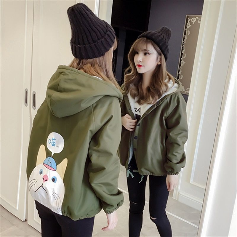 Autumn New Outwear Women Sweet Hooded Long Sleeve Cute Cat Printed Jacket Casual Solid White Pink Jackets 25