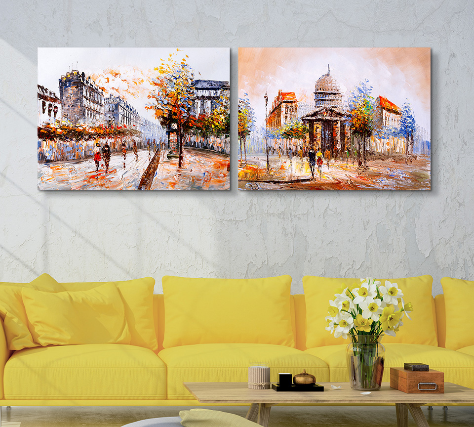 Abstract Art Oil Paintings Street View of Paris Creative Wall ...