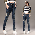 Free Shipping 2017 New Fashion Long Jeans Pants For Women Pencil Stretch Elastic Waist Trousers Plus Size 26-32 Denim Long Pants