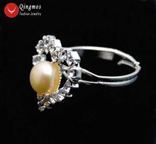 Женское кольцо с натуральным жемчугом 15 мм 6 7