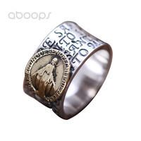 12mm Vintage 925 Sterling Silver Christian Gold Mother Virgin Mary Ring Band for Men Boys Size 8 9 10 11 Free Shipping
