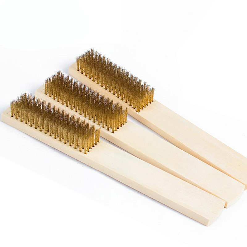 1 pcs The high-end wooden handle copper brush to clean the metal surface rust removing paint brush wire brush