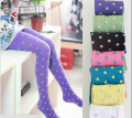 Spring and Autumn Child Pantyhose Dot Prined Tights for Lovely Girls Red Black Blue Yellow White Green Purple Pink