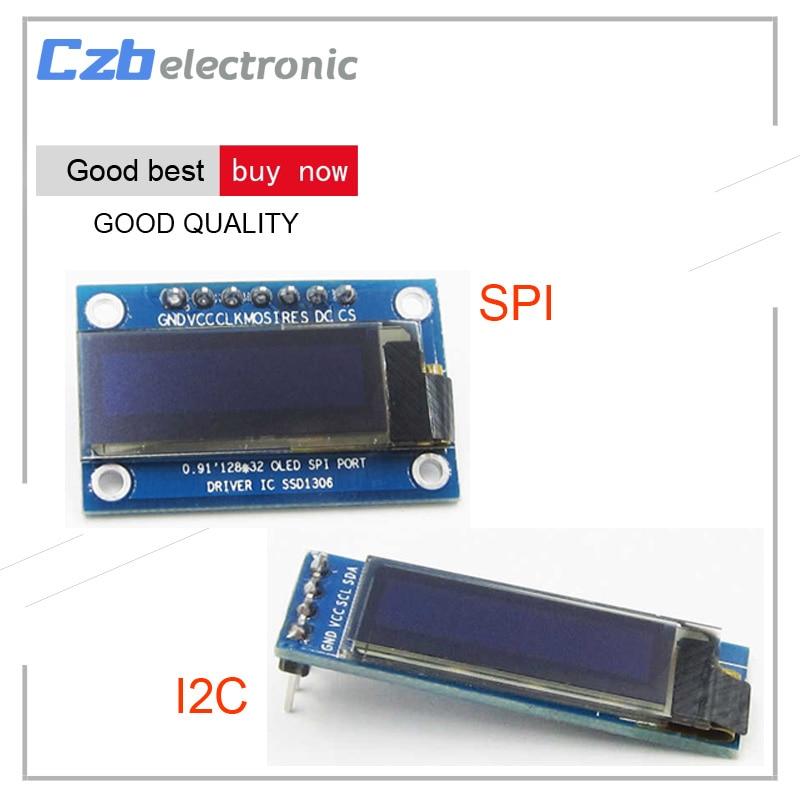 0.91 Inch 128x32 IIC I2C SPI Blue White OLED LCD Display DIY Module SSD1306 Driver IC DC 3.3V 5V For Arduino PIC