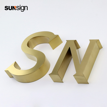 316 Golden Brushed Stainless Steel Sign Lettering