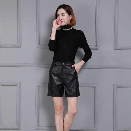 K45 Echte Frauen Leder Neue Schafe Mode 2019 Shorts q0OfwtOS