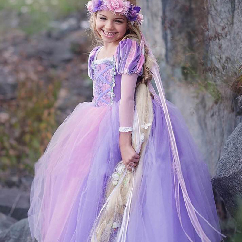 Girls cartoon princess Rapunzel Dress Fancy Party Dress Costume Princess Girl Dress up Kids Cosplay Party Vestido For Girls Wear купить в Москве 2019