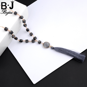 Natural Square Stone Grey Tassel Round Stone Cable Chain Necklace