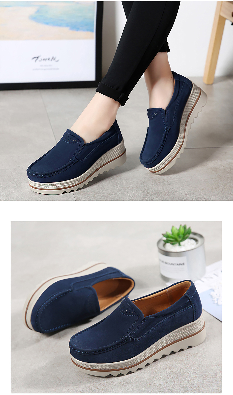 HTB136dMOb2pK1RjSZFsq6yNlXXaF 2019 Spring Women Flats Shoes Platform Sneakers Slip On Flats Leather Suede Ladies Loafers Moccasins Casual Shoes Women Creepers