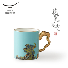 Womens porcelain cup 340ml mug, office cup, household tea Chinese style ceramic