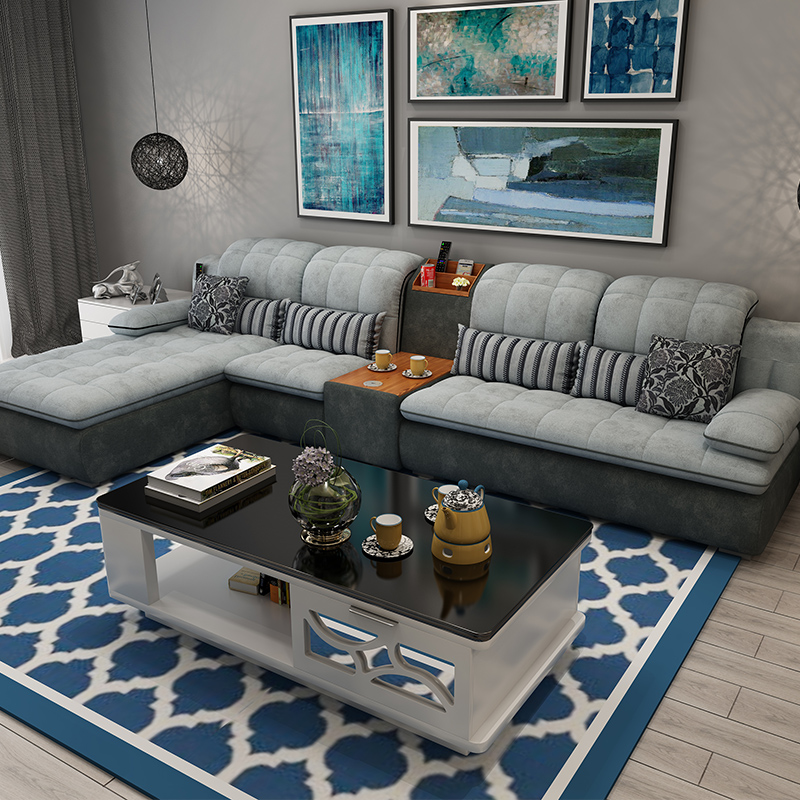 Furniture Sofa-Set Cup-Holder Puff Couch Velvet-Fabric Living-Room Alon Canape Asiento