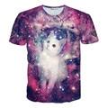 Women/Men Summer Casual Tee Shirt Harajuku Kitty Glitter 3D T Shirt Wacky Fuzzy Cat Explore Space Galaxy Funny T Shirts Camiseta