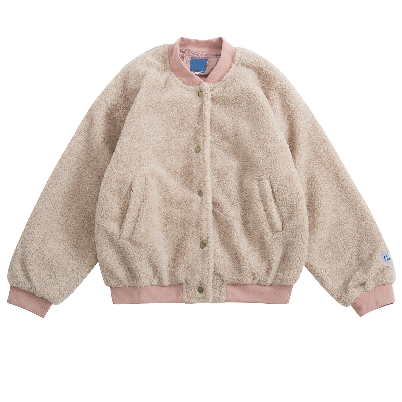 Winter Women Wool Blends Warm Outerwear Women Pink Faux Fur Coat Bomber Jacket Thick Warm Ribbon