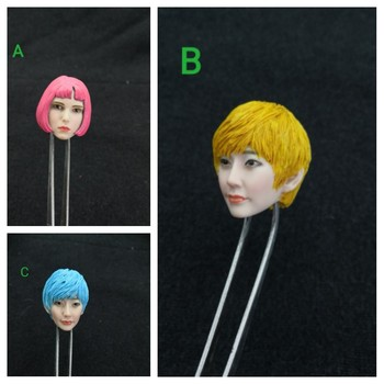 1/6 Scale Natalie Portman Head Sculpt Cartoon Anime Version with Short Pink Blue Yellow Hair for 12''Bodies