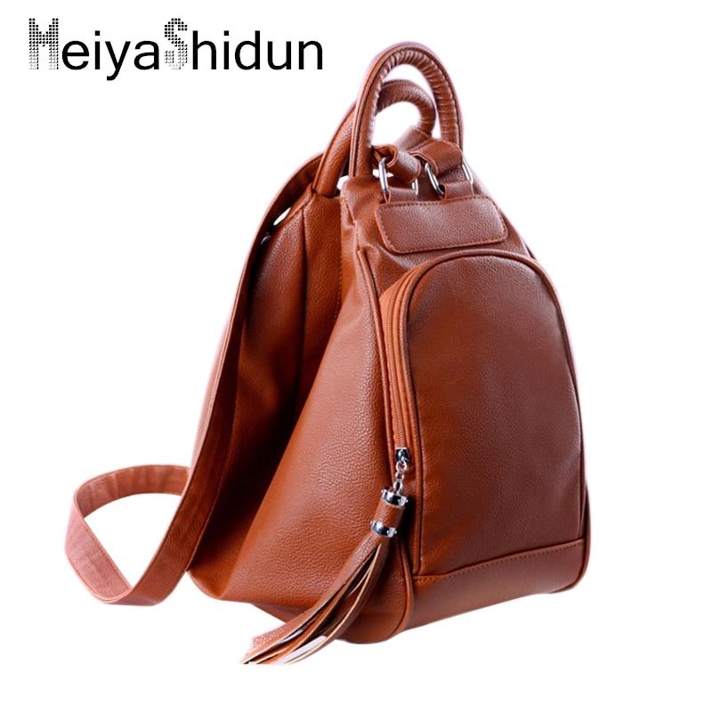 MeiyaShidun women s bag PU leather backpacks casual shoulder bag multifunction backpack school bag Girl tassel