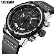 New Megir Top Brand Luxury Watches Men Chronograph Waterproof Leather Band Strap Quartz Watch Man Sport Wristwatch Male Clock