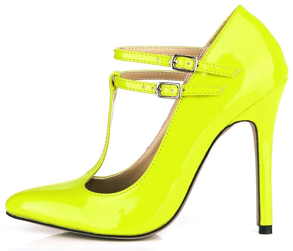 Модные сексапильные женские летние туфли из лакированной кожи с Т-образной пряжкой острым носком и высокими каблуками-шпильками тонкие туф...