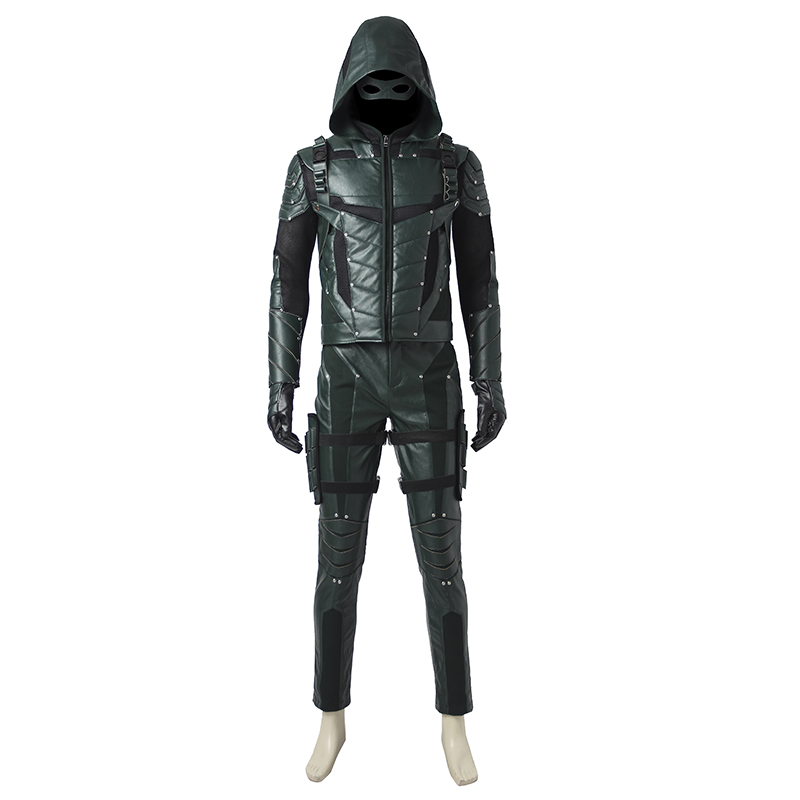Green Arrow Oliver Queen Cosplay Costume Season 5 Outfit Superhero Halloween Carnival Clothes Party Custom Made Adult Handmade