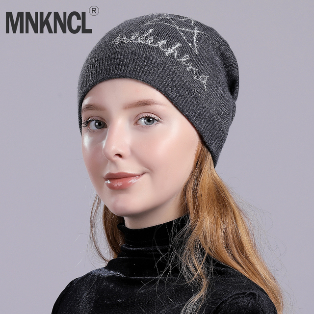 dd28ff8c49770 MNKNCL Winter Hats for Women Knitted Beanie Hat Cap for Girls Wool Brand  Hat Female and